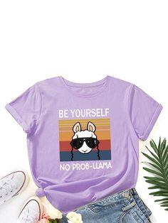 Cartoon Animal Slogan Print O neck Short Sleeve Women T shirt P1855074, Meteor Gray / US 10