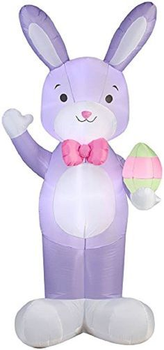 Large Easter Bunny Lawn Inflatable Airblown Decoration Yard Lighted 7 FT Tall