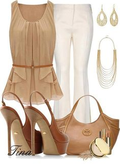 Brown gown, white pants, high heel sandals and hand bag for ladies