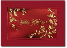Holiday cards feature golden holly leaves by THE OFFICE GAL Card B3-M-8986-E82W-KG