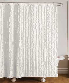 White Cascading Ruffle Shower Curtain Extra Long Fabric