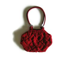 Red Hobo Bag Knitted - Faux Leather Straps on Etsy, $63.00
