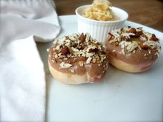 Peach Donuts with Toasty Almond and Coconut Glaze