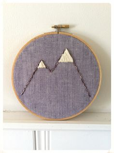 "Hand embroidery hoop art ""not-so-twin peaks"""