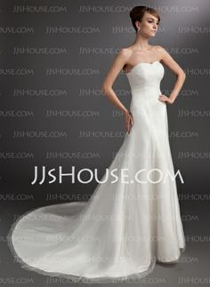 Wedding Dresses - $159.99 - A-Line/Princess Sweetheart Chapel Train Satin Tulle Wedding Dress With Ruffle (002016743) http://jjshouse.com/A-Line-Princess-Sweetheart-Chapel-Train-Satin-Tulle-Wedding-Dress-With-Ruffle-002016743-g16743