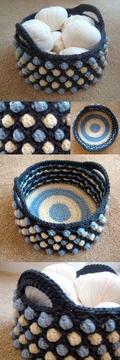 Honeycomb Pop Basket. Beginner's perfect crochet project. Make gorgeous honeycomb pop basket for storage and organization. Tutorial via