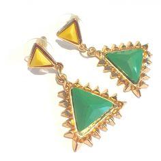 Oorstekers driehoek Yellow & Green