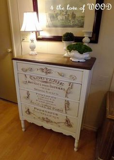 The best DIY projects & DIY ideas and tutorials: sewing, paper craft, DIY. DIY Furniture Plans & Tutorials : Tutorial on how to make this Fabulous French Typography Dresser - The Graphics Fairy -Read French Furniture, Refurbished Furniture, Paint Furniture, Repurposed Furniture, Shabby Chic Furniture, Furniture Projects, Furniture Making, Furniture Makeover, Furniture Movers