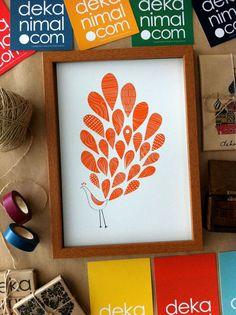 A Little Peacock Print - Orange - Animal illustration Poster Children decor Kids Room Wedding Birthday Anniversary Gifts Home decor, Feather. $18.00, via Etsy.