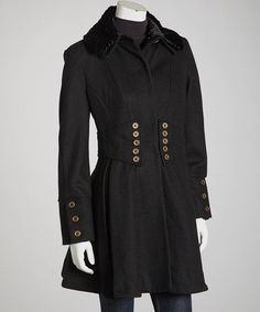 Female black trench coat.
