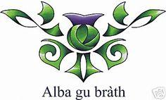 "scottish thistle (Alba gu brath is gaelic and means ""Scotland forever"" Scottish Thistle Tattoo, Scottish Gaelic, Scottish Tartans, Scotland Tattoo, Celtic Tattoos, My Roots, Celtic Designs, Clan Macdonald, Future Tattoos"