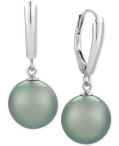 Cultured Tahitian Pearl Drop Earrings (10mm) in 14k White Gold - Gray