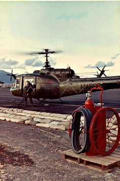 Huey Fuels Up at Marble Mountain Vietnam 1969