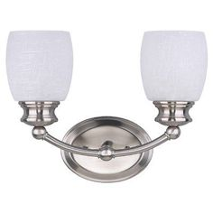 Canarm IVL257A02BPT 2 Light Palms Bathroom Light by Canarm. $44.57. Finish:Brushed Pewter, Glass:White Linen, Light Bulb:(2)100w A19 Med F Incand The Palms vanity will emit bright clean light for all of your vanity uses with White Linen glass. The popular Brushed Pewter finish completes the look of this noticeable piece.