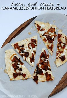 Bacon, Goat Cheese and Caramelized Onion Flatbread - SO delicious with a drizzle of honey! Great party appetizer!