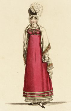 The last Parisian fashion, fashion plate, hand-colored engraving on paper, published London, February 1815.