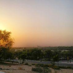 حديقة مشرف .. بعد مشي .. وقت الغروب .. منظر جميل