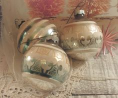 Three Vintage Silver and Blue Christmas Hand by vintageaddie