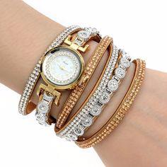 Our Khaki Luxury Rhinestone Women Bracelet Watch Ladies Quartz Women Wristwatch