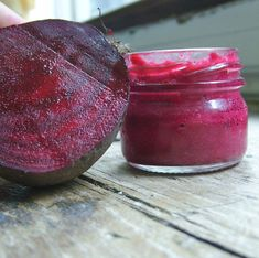 Made this--Natural lip stain made from beet! 2tbsp olive oil, 1tbsp honey, 1 beet.   Blend and strain. Pour the liquid stain into a glass jar or other air tight container. Using a lip brush or cotton swap, slide the stain over clean, dry lips.When done, store in refrigerator for up to four weeks or in the freezer for two months