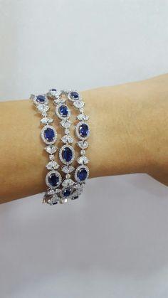 Blue sapphires & diamonds bracelet