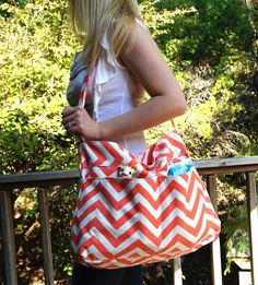 Coral Chevron Tote Messenger Diaper Bag from White Elm Boutique maybe longer strap to put it over shoulder