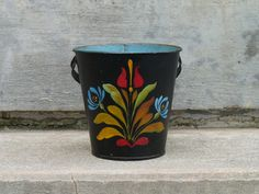 Folk Art Small Toleware Tole Painted Bucket
