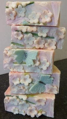 Image of cold process apple blossom soap. -Tentance