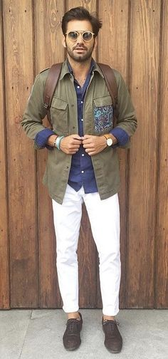 87003ebb372 with a fall combo idea with a navy button up shirt white pants military  green shirt with a paisley pocket sunglasses wrist accessories watch brown  suede ...