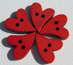 Wood Buttons  Colored Wood Heart Buttons  5 pieces by HazalsBazaar, $2.00