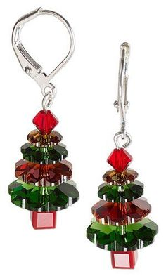 Jewelry Making Earrings Jewelry Design - Christmas Tree Earrings with Swarovski Crystal - Fire Mountain Gems and Beads Bead Crafts, Jewelry Crafts, Jewelry Ideas, Diy Crafts, Noel Christmas, Christmas Ornaments, Christmas Design, Xmas, Ideas Joyería