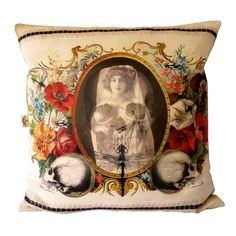 Flowers & Skull Cushion Cover multi, pillows & throws, decorative pillows