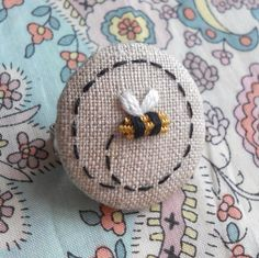 Goldwork Bee Hand Embroidered Brooch