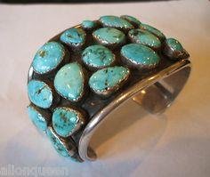 Signed Huge Heavy Vintage Navajo Turquoise Cluster Cuff Bracelet 133 4 Grams | eBay