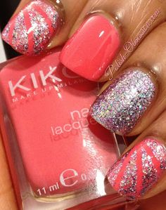 Kiko 360, love the coral with glitter, again this would be super cute for summer when I'm nice and tan! nails summer glitter, kiko 360, coral nails glitter, summer nail art tutorial, coral glitter nails, red nails glitter, red summer nails, summer glitter nails, coral nails with design