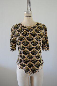 Vintage Laurence Kazar Pearl Beaded  Sequined Beaded Seashell Silk Top Blouse