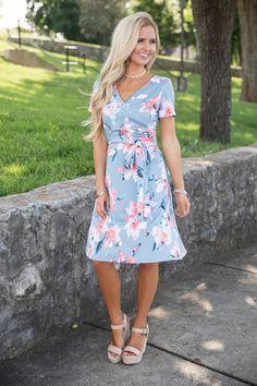 A Romantic Story Floral Dress Blue