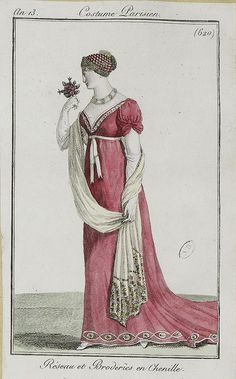 Net work and Chenille embroidery {Reseau et Broderies en Chenille 1804-1805}