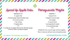 Spiced Up Apple Cider + Pomegranate Mojito Recipes Have a Healthy ...