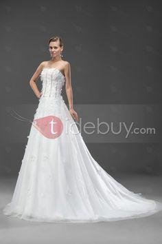 優雅なAラインフラワーコートトラインストラップレスウェディングドレス