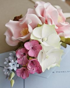 English Garden Bouquet of sugar flowers by Penelope d'Arcy Graham
