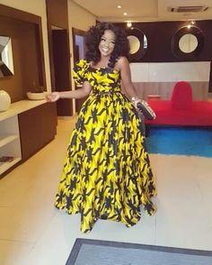 Yellow African Print Dress/Yellow Ankara Dress/African Clothing/African Dress/African Fabric Dress/A African Maxi Dresses, African Fashion Ankara, African Inspired Fashion, Latest African Fashion Dresses, Ankara Dress, African Print Fashion, Africa Fashion, African Attire, African Wear