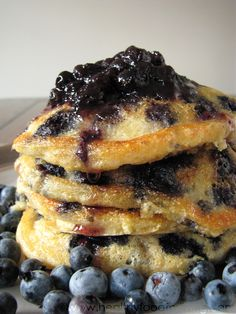 Blueberry Cornmeal Pancakes by healthyfoodforliving #Pancakes #Blueberry #Cornmeal