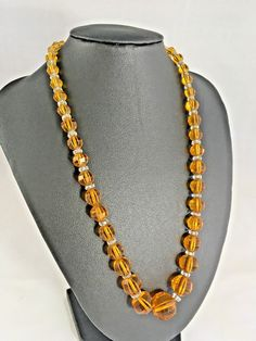 Beautiful Vintage Faceted Glass Crystal Graduated Necklace Amber Colour ~ Bridal #Unbranded