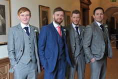 Groom, Best Man and Ushers, all in Victor Valentine suits. Springtime wedding at Springkell.