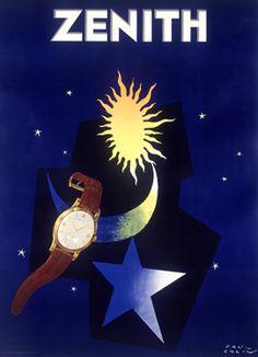 """Minimalist"" Art Deco Zenith watch poster, ca. '30s"