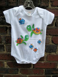 Turtle and Fish Handpainted Infant by DeborahWillardDesign on Etsy