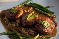 Beef medallions with mushroom madeira sauce.  Ooo fancy dinner.
