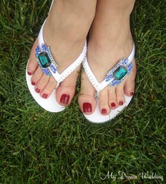 Peacock CZ Crystal Bridal Flip flops. $45.00 https://www.etsy.com/listing/176468915/peacock-crystal-flip-flops-sapphire?ref=shop_home_active_13&ga_search_query=peacock%2Bflip%2Bflops