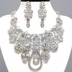 56.99$ uniklook.com Prom Bridal Elegant Fashion Clear Ab Crystal Bib Statement Jewelry Necklace Set